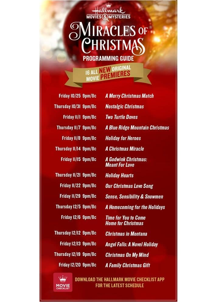 Hallmark Movies & Mysteries Miracles of Christmas movie schedule 2019