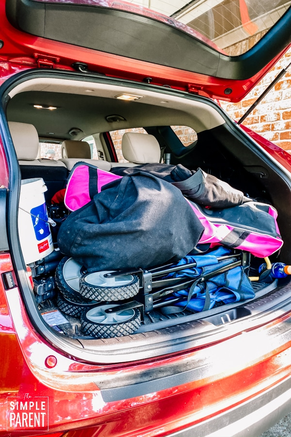 Baseball equipment in the back of a car