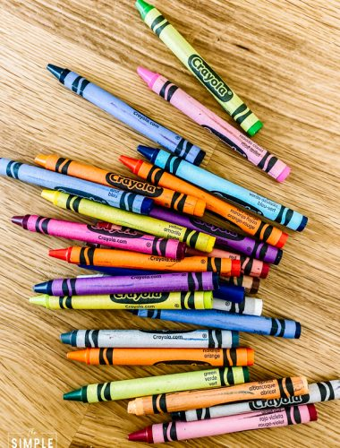 Collection of Crayola crayons on a butcher block counter