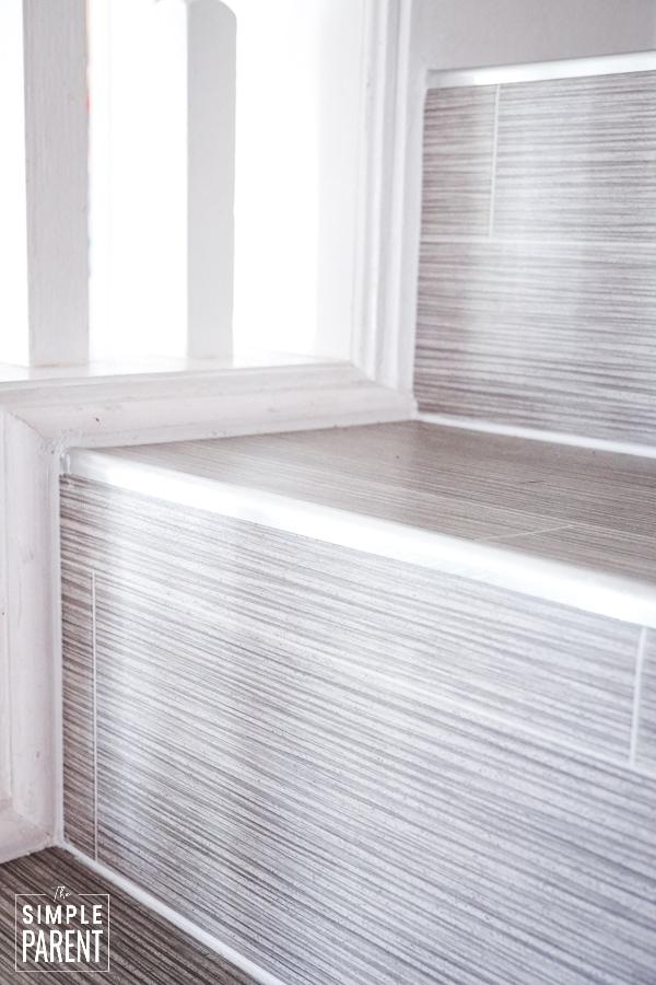 Staircase with LifeProof Grey Ceramic Sheet Vinyl flooring