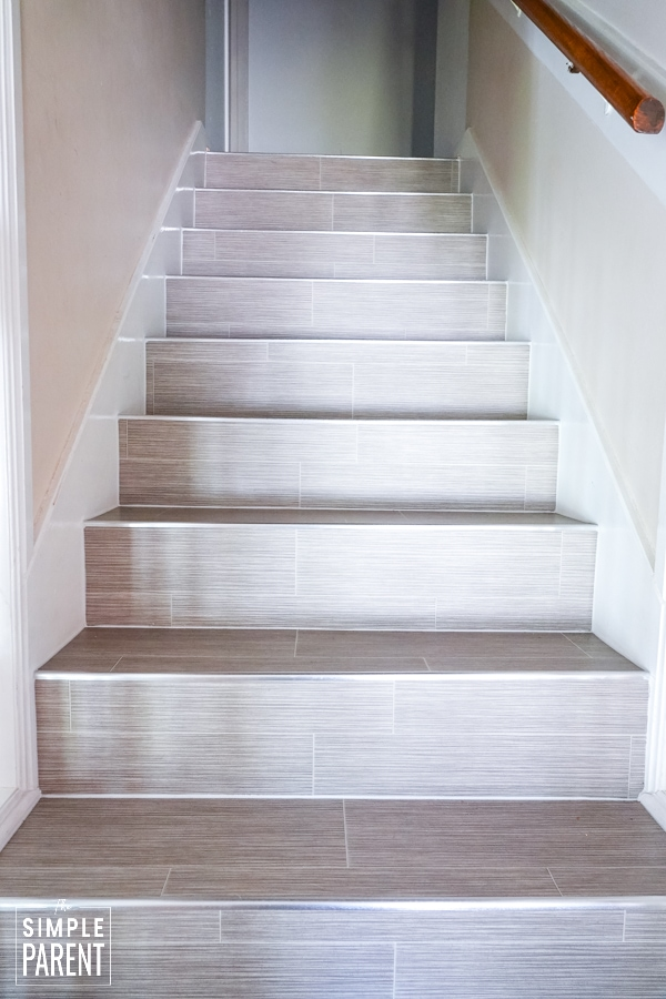 Staircase with LifeProof Grey Ceramic Sheet Vinyl flooring