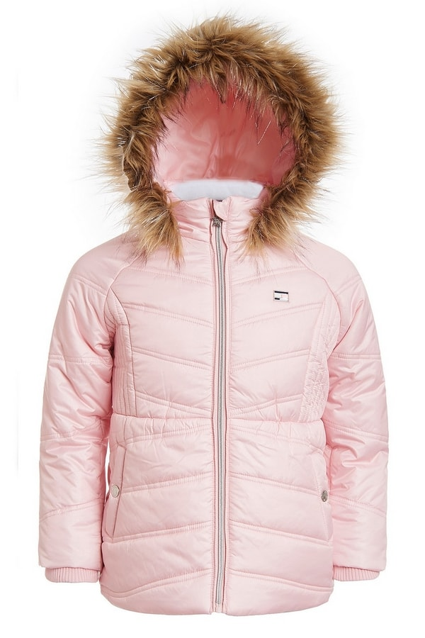 Fur-Trim Hooded Chevron Puffer Jacket