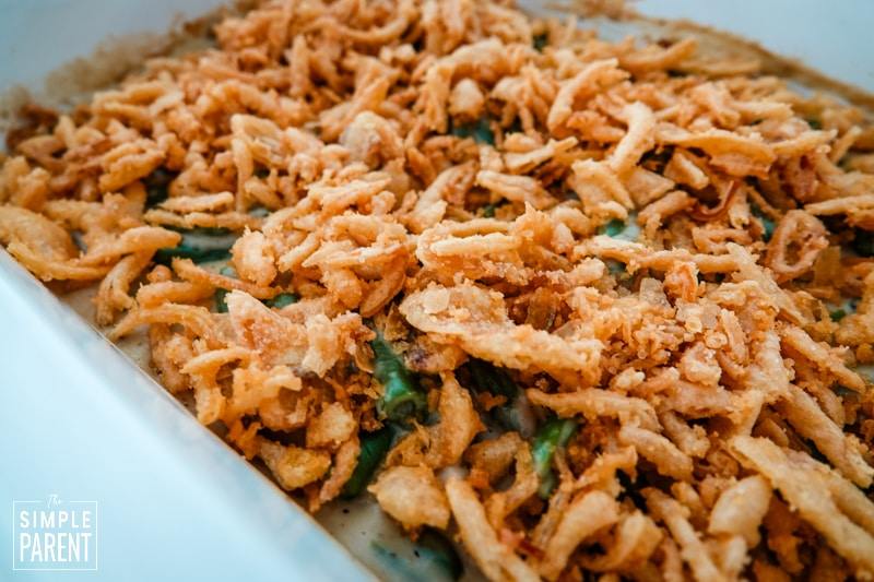 Green beans covered with french fried onions