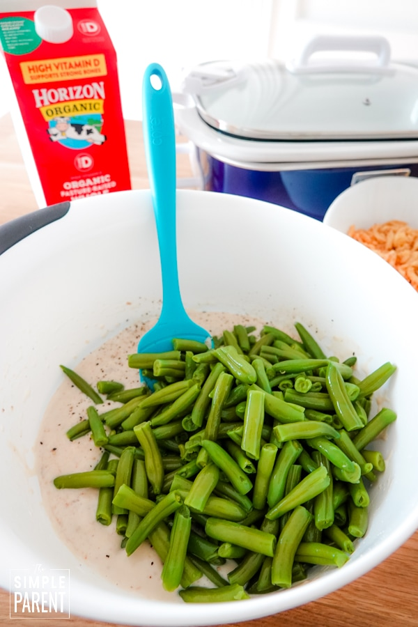 Green beans in a bowl with cream of mushroom soup