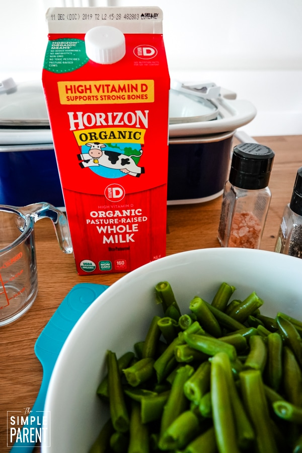 Bowl of green beans and a carton of Horizon Organic milk
