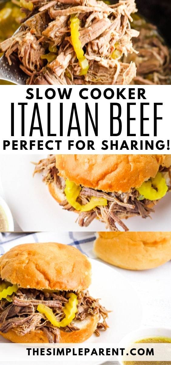 Italian beef sandwiches made with Crockpot roast beef