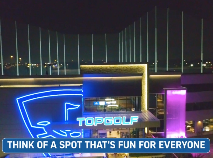 Outside of a Topgolf venue