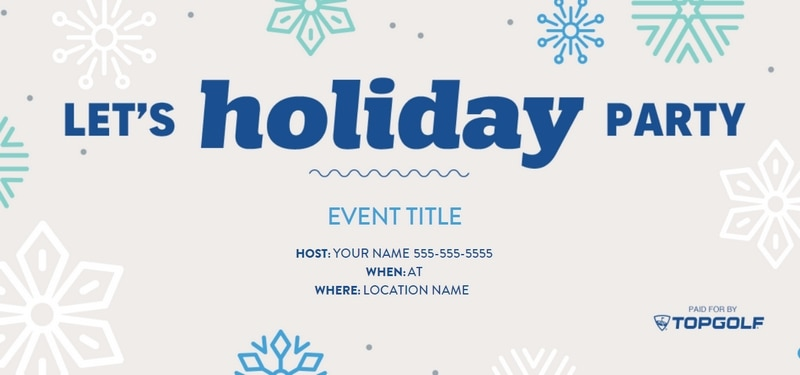 Topgolf holiday party invitation from Evite with blue snowflakes on gray background