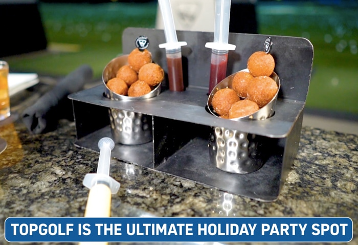Injectable Donut Holes with raspberry jelly sauce
