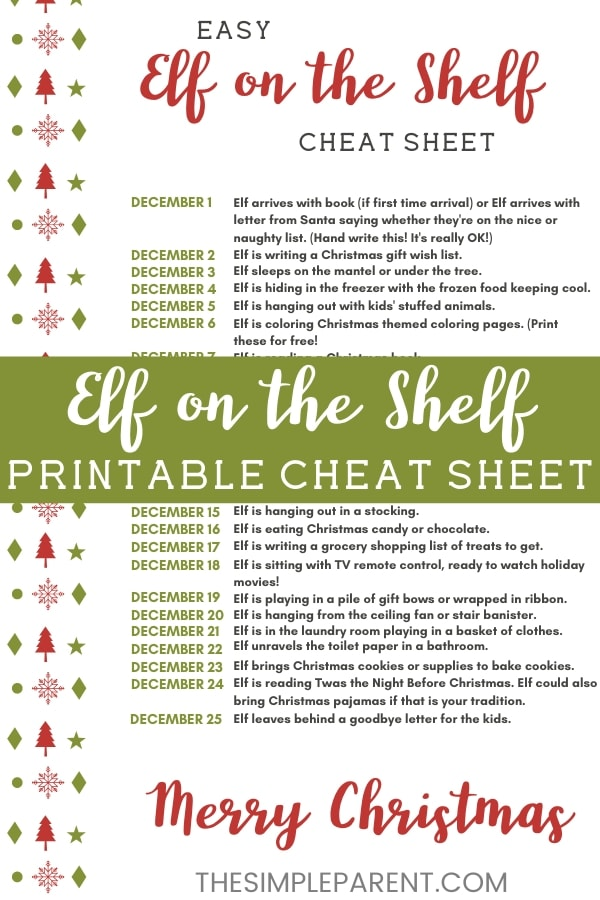 Printable Elf on the Shelf Cheat Sheet of Ideas Pin