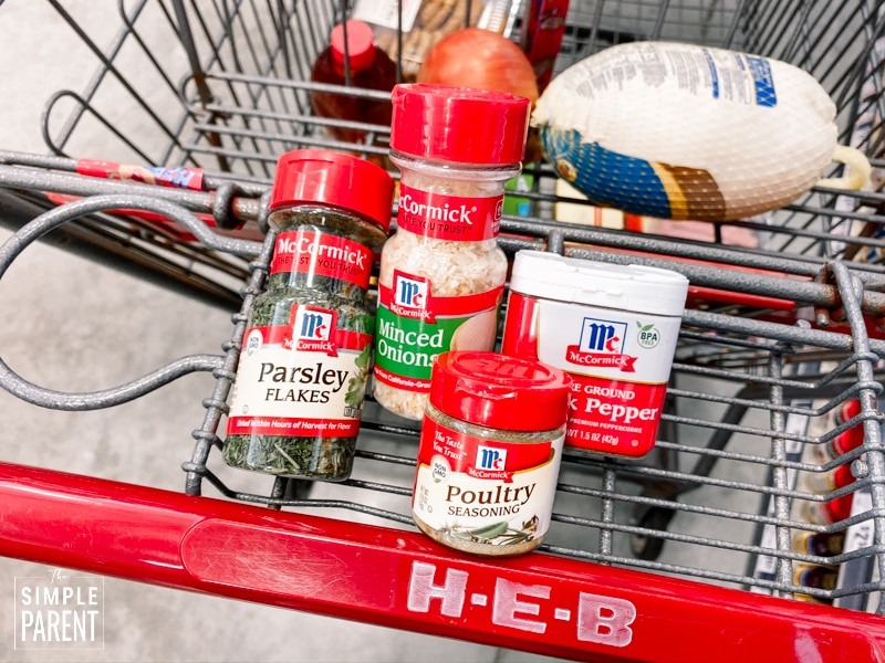 McCormick Herbs & Spices in an HEB grocery cart