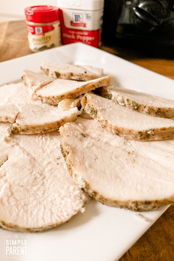 Slices of turkey breast that were cooked in a slow cooker