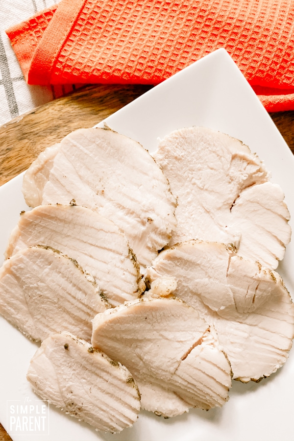 Slices of turkey breast that was cooked in a Crockpot slow cooker