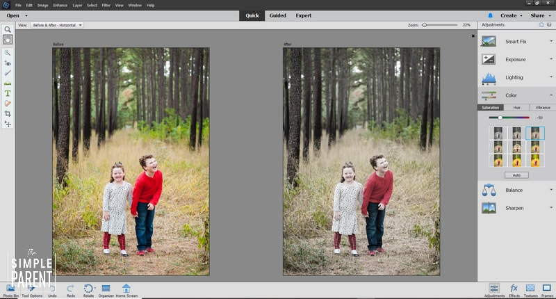 Before and after of photo edited with Adobe Photoshop Elements 2020