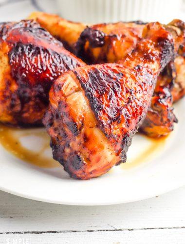 Air fryer chicken legs on a white plate