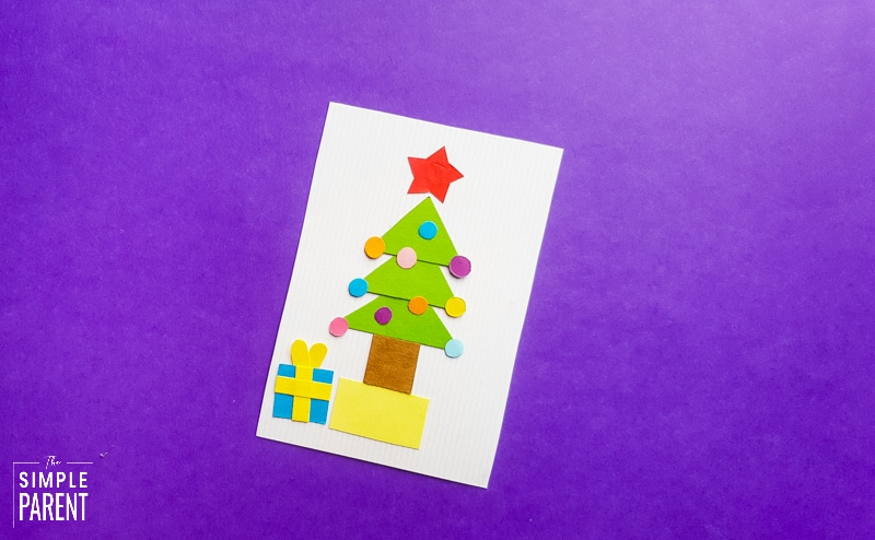 Christmas Tree craft for kids on purple background