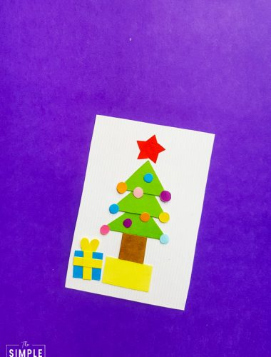 Christmas Tree Shape Craft on purple background