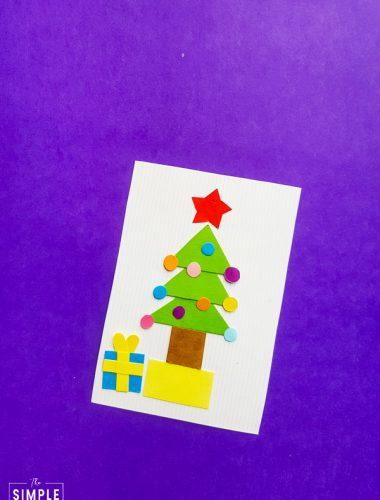 Christmas Tree Shape Craft on purple background