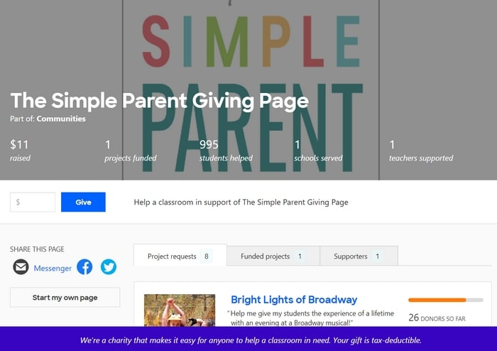 Photo of The Simple Parent DonorsChoose Giving Page