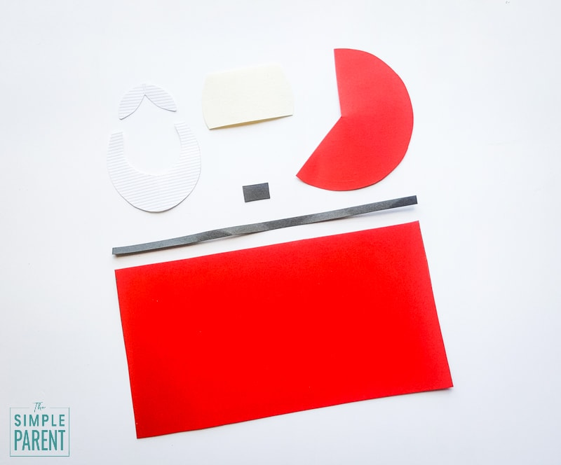 Paper shapes to make a Santa Claus craft