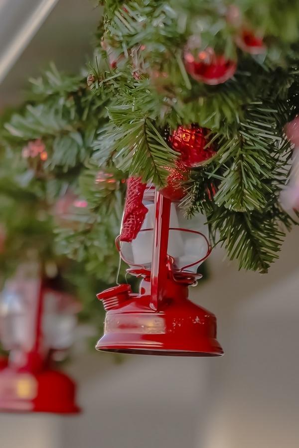 Christmas lanterns hanging in garland