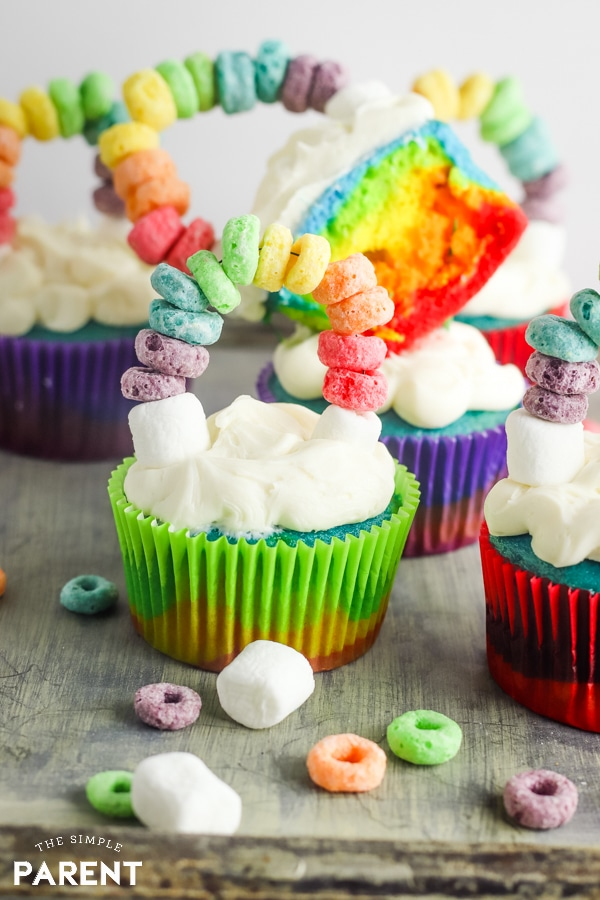 Colorful cupcake with a rainbow topper for St. Patrick's Day party