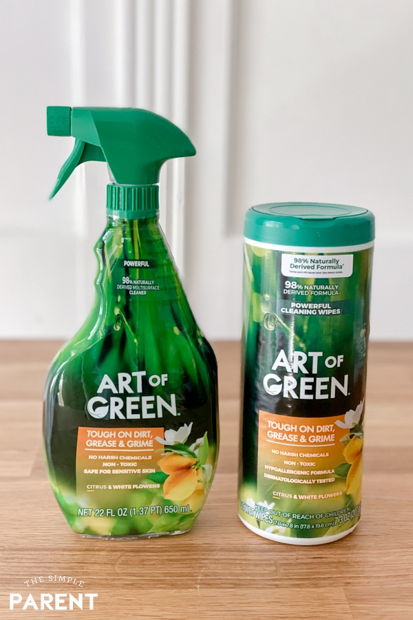 Art of Green cleaning spray and wipes sitting on kitchen counter
