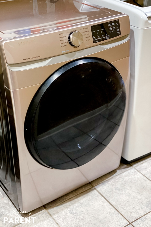 Champagne colored clothes dryer in a laundry room