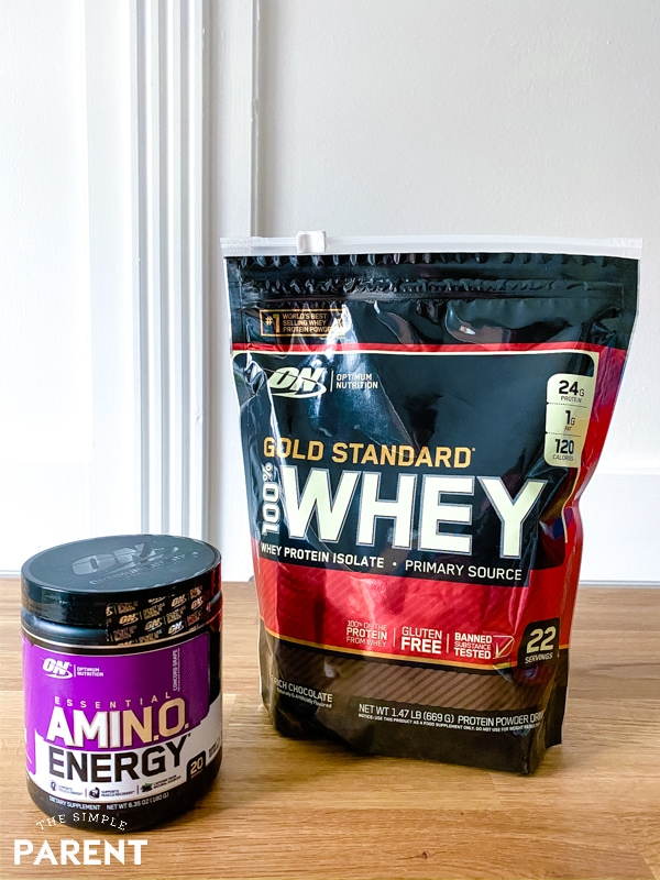 Bag of Optimum Nutrition Gold Standard Whey on kitchen counter