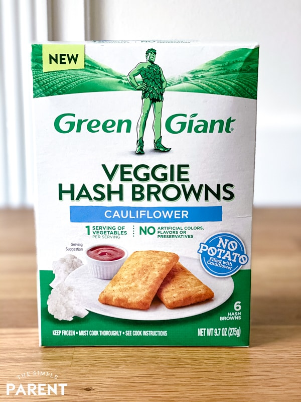 Box of Green Giant Veggie Hash Browns sitting on kitchen counter