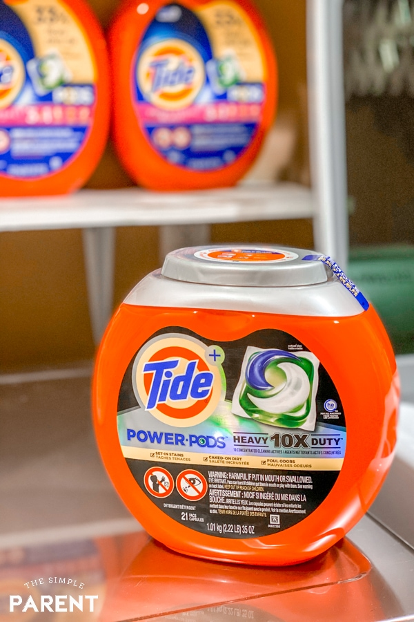 Tide Power PODS sitting on top of a washing machine