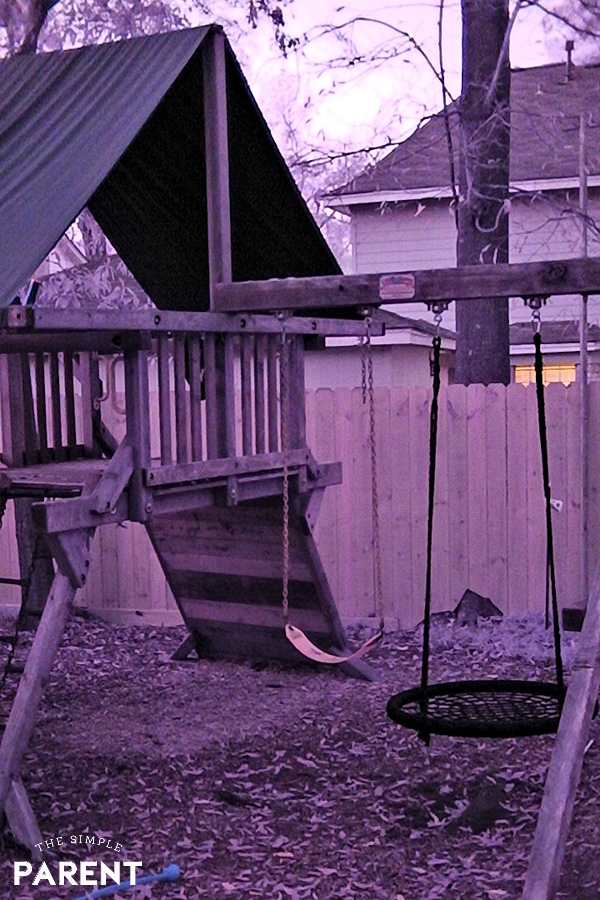 Swingset in backyard at night with Sionyx Camera
