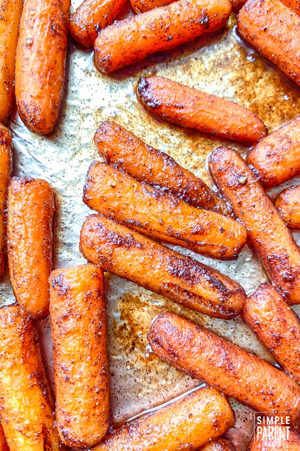 Brown Sugar Glazed Carrots on a sheet pan