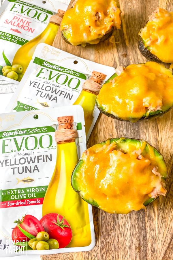 Keto Tuna Melt made in an avocado