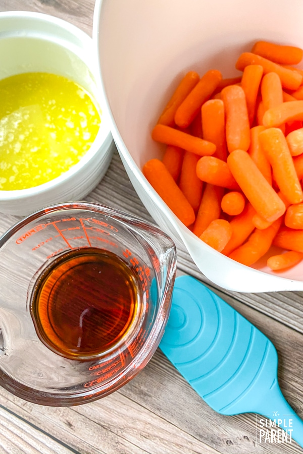 Ingredients to make glazed carrots