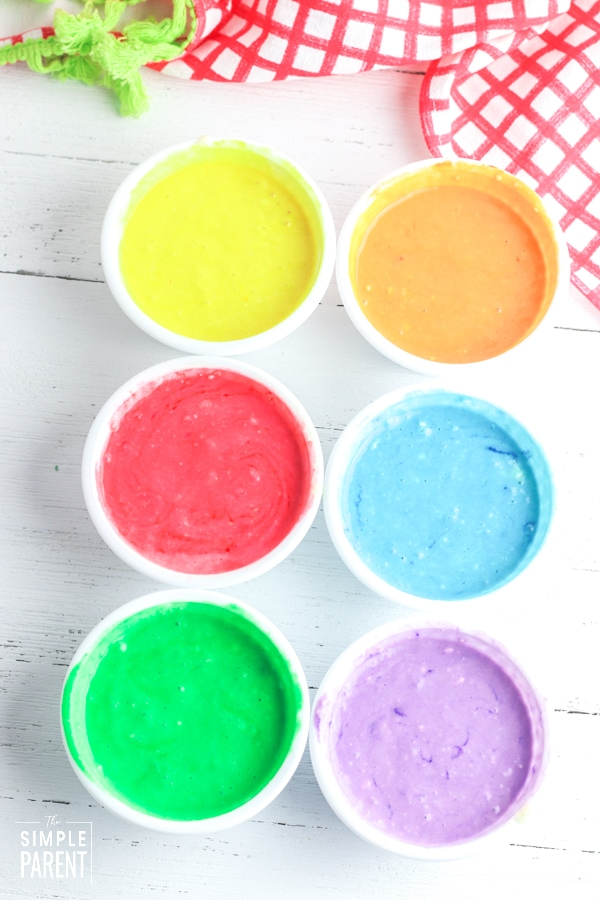 Small bowls of batter for colored pancakes