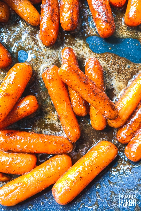 Glazed Carrots in a pan in the stove