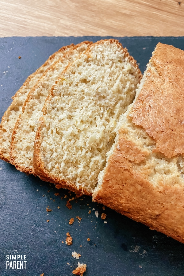 Loaf of Bisquick banana bread