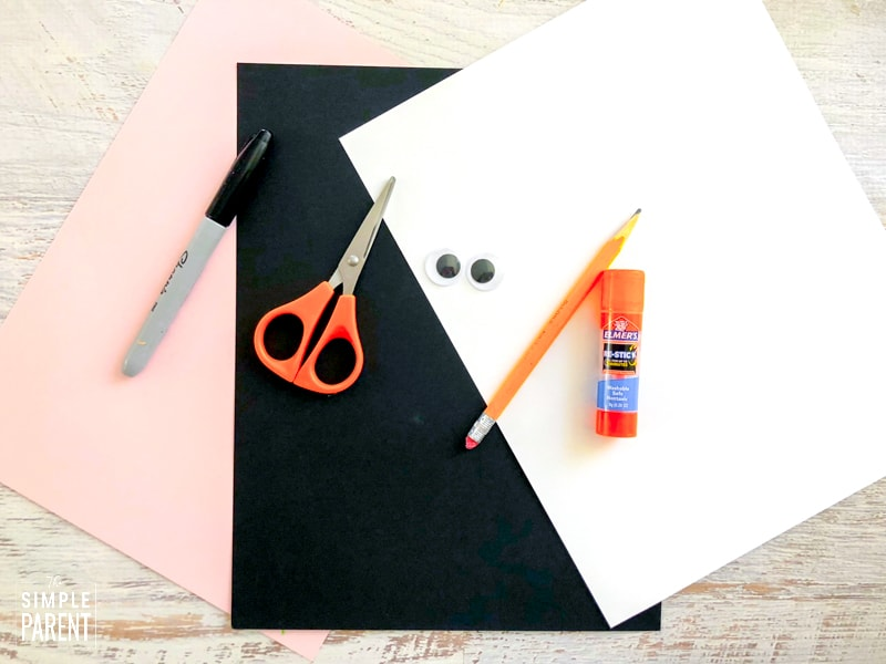 Materials to make letter R letter of the week craft