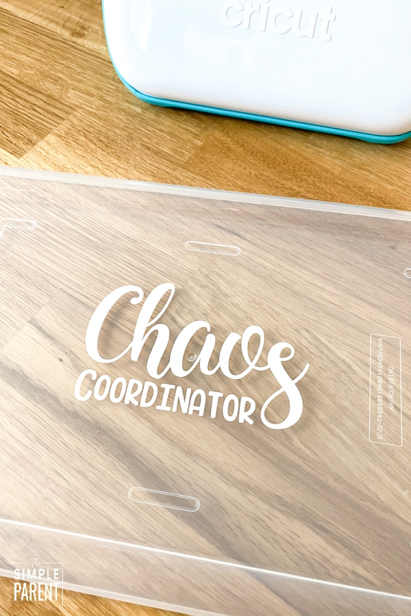 Chaos Coordinator vinyl decal on clear plastic bin lid