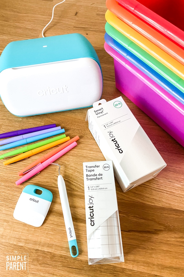 Supplies to customize a teacher survival kit gift with Cricut Joy