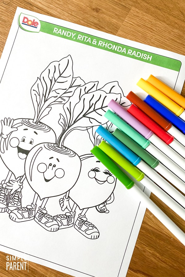 Printable coloring page for kids from Dole At-Home Resources