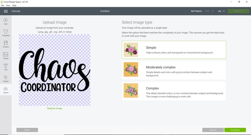 Uploading a graphic to Cricut Design Space