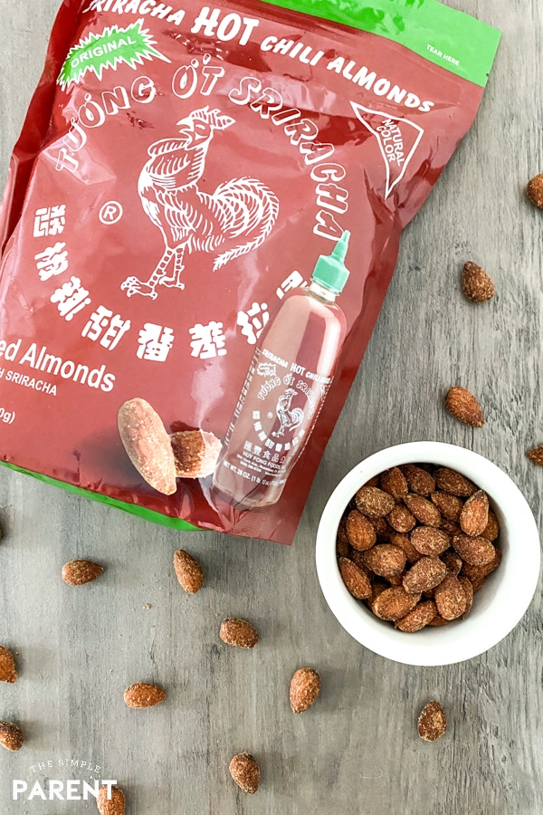 Huy Fong Original Sriracha Almonds in the bag and in a bowl