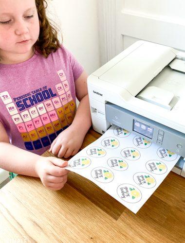 Girl printable sugar scrub labels on Brother printer