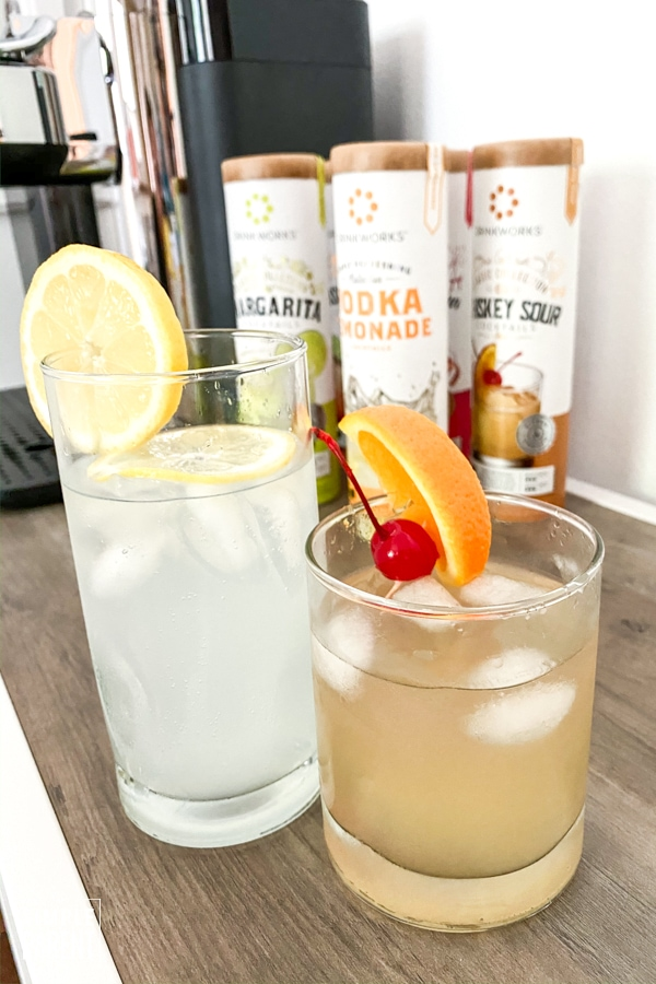 Vodka Lemonade and Whiskey Sour made with Drinkworks Home Bar