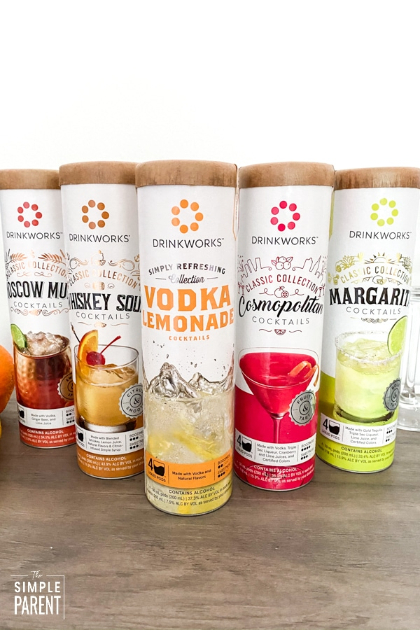 Home brewed cocktail options from Drinkworks by Keurig