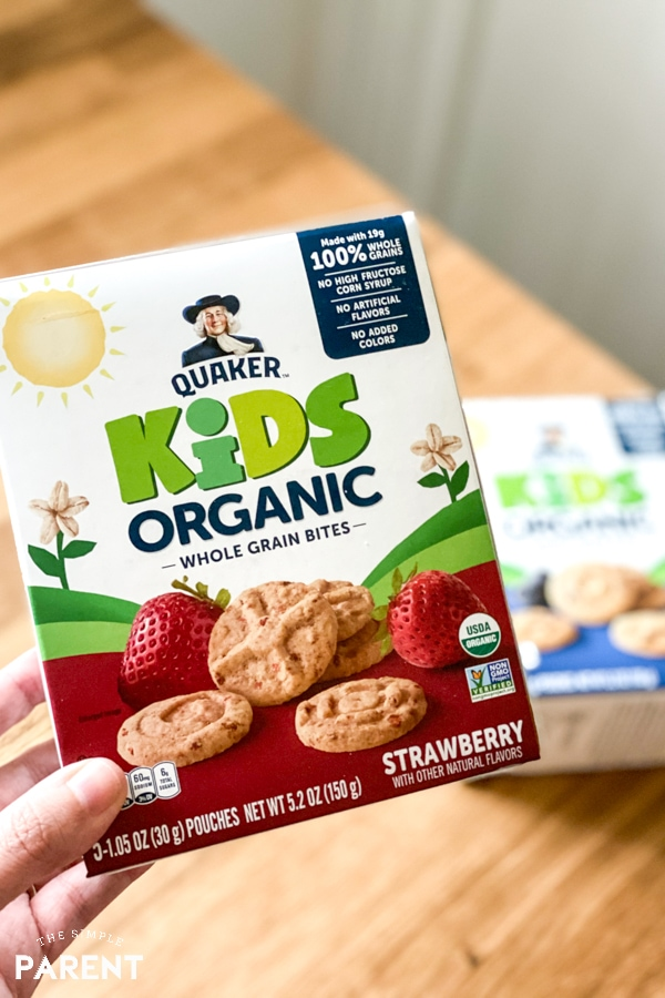 Holding box of Quaker Kids Organic Bites