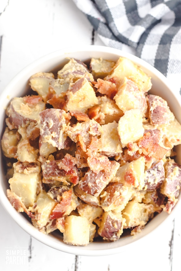 Bowl of Crockpot ranch potatoes with bacon