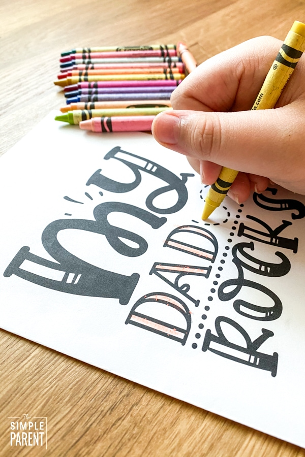 Child coloring printable Father's Day card for kids